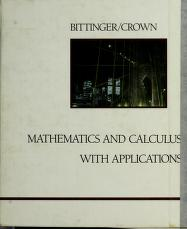 Cover of: Mathematics and calculus with applications   Judith A. Beecher
